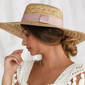 NWT Lulu's Beige + Black Oversized Straw Hat